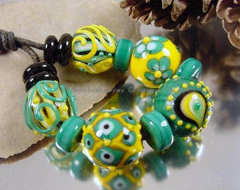 Handmade lampwork glass bead set, Artisan glass beads, yellow beads, green beads, teal beads, black beads, SRA glass beads