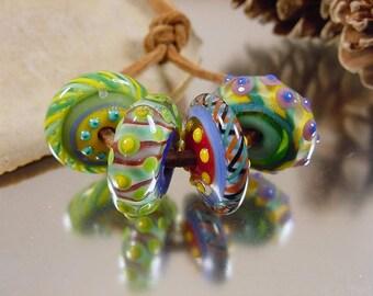 Handmade lampwork glass bead set, Artisan glass beads, yellow beads, blue beads, green beads, red beads, disc beads, SRA lampwork beads