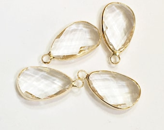 4 glass faceted teardrop pendant with Gold frame, clear glass drops 22x11.5mm, framed glass teardrops