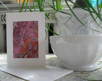 Pink and Blue Abstract Greeting Card OOAK ATC ACEO