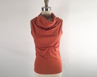 Alena Designs - Funnel - Funnel Neck Sleeveless Top Cotton Lycra French Terry Copper