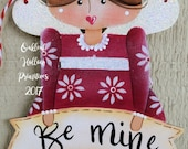 Valentines Day Red Angel Be Mine Love Handpainted Wood Ornament Flower design
