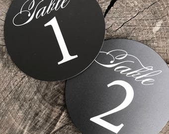 Circle Rustic Table Numbers - Numbered Chalkboard Look Table Round Number Cards  - Black and White Table Cards