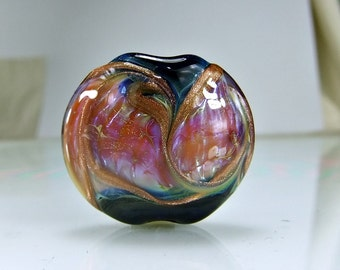 Blue Pink Lampwork Focal Bead SRA GLass Focal Bead