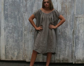 Soft Grey Peasant Dress