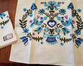 Vintage Linen Dish Towel  Bird and Floral Motif With Turquoise and Lavender