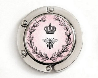 Crown and Bee Purse Hook, foldable purse hook, tabletop purse hanger, PH002
