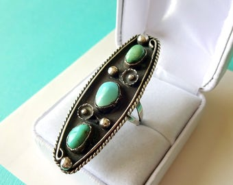 Long Navajo Turquoise and Sterling Ring Size 7