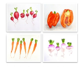 Sale Vegetable Kitchen Art 20% 0ff Watercolor Print Veggie still life painting gift for Mom Farmhouse wall decor red orange Sale  S