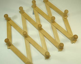 Accordian Wood Peg Rack