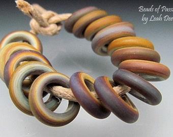 Handmade Glass Ring Beads Lampwork - 16 Rainbow Tie Dye Sliders - Xtra Sm