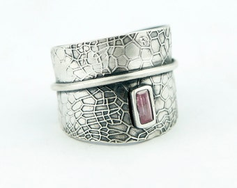 Crackle Textured Adjustable Sterling Silver Sculpted Ring with cz