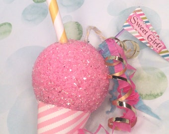 Snocone ornament snowcone ornament pink sweet girl shaved ice summer decor pool party