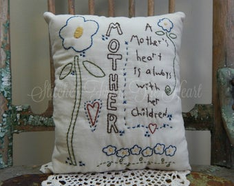 Decorative Mother's Pillow, Hand Stitched Pillow, Mother's, Love, Children, Blue Pansy, Flowers