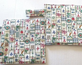 Mahjong thick insulated large pot holders /trivets very day Mah-jong goods double insul brite ---great hostess gift