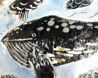 whale in the deeps plate - handmade ceramic
