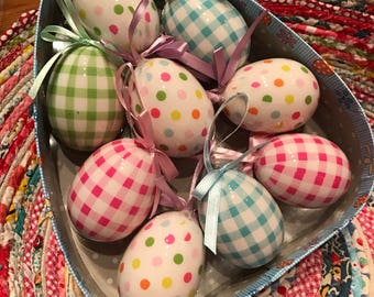 Gingham and Polka Dot Easter Eggs- So Cute for your Easter and Spring Time Crafting Projects!