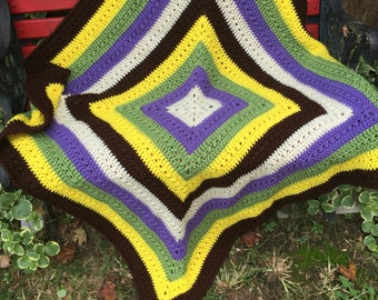 Vintage Colorful Hand Crochet Afghan Project Linus Lap Throw