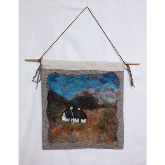 Felted Wool Painting Scottish Cottage