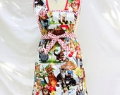 Retro -Full Apron -Red- kitty- Cats-White -Mod -Beautiful cats christmas Apron-Ready to ship