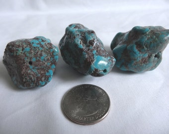 THREE Large Turquoise Nugget Stone Beads or Pendants 31 to 41mm Long 26 to 35mm Wide A184
