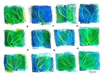 "Blue Windows, original signed drawing b173 (9"" x 12"")"