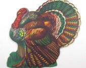 Vintage Miniature Turkey Die Cut Cardboard Thanksgiving Decoration