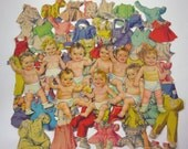 Vintage 1950s Baby Girl and Boy Paper Dolls and 64 Outfits 9 Dolls