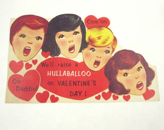 Vintage Large Children's Novelty Valentine Greeting Card with Cute Little Boys and Girls Singing