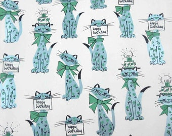 Vintage 1950s or 1960s Birthday Wrapping Paper or Gift Wrap with Metallic Grey Blue Cats with Birthday Cakes and Signs by Hallmark