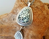New Lander Variscite Sterling Silver and Stone Segmented Pendant Necklace
