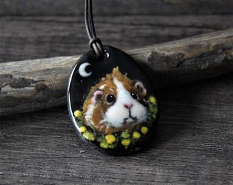 Guinea pig at the moon necklace , fused glass pendant