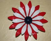 1960's Enamel Flower Jewelry Pin Retro 60's  Funky Love  Posey, Flower Power , USA,  America, Patriotic
