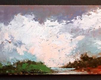 MINI 1668, 0riginal oil painting, landscape, miniature art, 100% charity donation, oil painting on cardboard