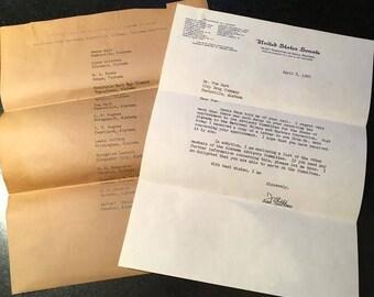 Senator John Sparkman autographed letter (1960)