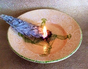 White Mica Brigid's Burning Bowl for Imbolc & Smudging Rituals and Ceremony Micaceous  Clay Pottery from Taos, New Mexico
