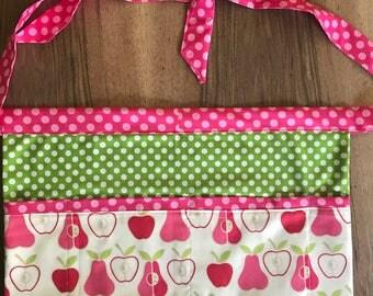 Apples and Pears 4 pocket utility apron server apron, vendor apron - teacher appreciation gift