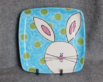 Whimsical Easter Bunny square platter, hand painted pottery, bright dots, spring decorations, serving plate, Easter goodies, hostess gift