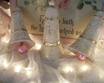3 large vintage papier-mâché holiday bells. winter white & gold, old glass pale pink ornament clappers. sweet cottage chic holiday décor
