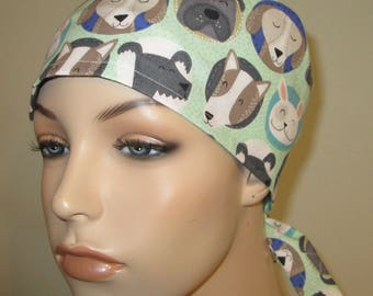 Scrub Cap Dogs Pediatric Print  OR Cap Nurses Cap Surgical Cap Free Ship USA Adjustable Chemo Hat