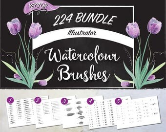 224 Watercolor Brush Set for Illustrator - Vector Format - Thin, Medium, Thick, Blot, and Splatter Art and Scatter Brushes with Tutorials