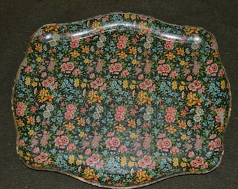 Vintage Highmount Quality Alcohol Proof Floral Paper Mache Serving Tray