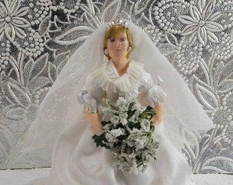Diana Princess of Wales Doll Miniature Bridal Wedding Art Historical Collectible