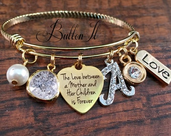 Gifts for Mom, Gifts for Grandma, Gold Bangle Bracelet, Mother's Day gift, CHARM bracelet, Mother daughter jewelry, Mom gifts, mother son