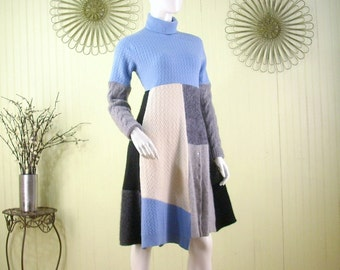Sz. Med. Cashmere Sweater Dress/Reconstructed Altered Clothing/Blue and Grey/by Brenda Abdullah