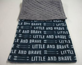 Little and Brave Navy Gray Double Sided Minky Burp Cloth 10 x 26 READY TO SHIP