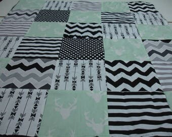 Buck Mint Black and White Patchwork Blanket You Choose Size MADE TO ORDER No Batting
