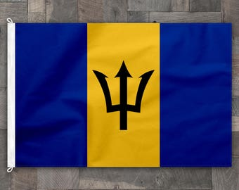 100% Cotton, Stitched Design, Flag of Barbados, Made in USA