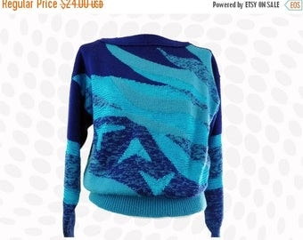 Vintage Sweater | 90s Blue Waves Abstract Space Dye Skiwear Knit Tyrolia By Head