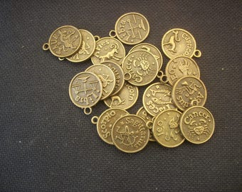 15 Astrology Zodiac Sign Charms in Bronze Tone Metal